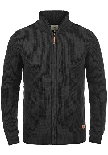 Redefined Rebel Mongo Herren Strickjacke Cardigan Grobstrick Winter Pullover mit Stehkragen, Größe:M, Farbe:Black