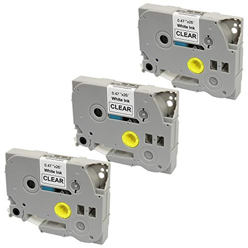 3x Nastro per Etichette compatibile per TZe135 TZ135 Bianco su Trasparente 12mm x 8m per Brother P-Touch PT-1000 1005 1010 3600 9600 D210 E300VP E550WVP H101C H101GB H105 H110 H300 H500 P700 P750W
