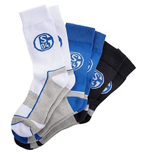 Unbekannt FC Schalke 04 Sport Chaussettes Lot de 3 Taille 35–38