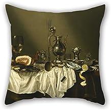 Funda de almohada de 45,72 cm x 45,72 cm por 45,72 cm (dos caras) agradable elección para parejas oficina diván niño amigo cama silla pintura al óleo Willem Claesz Heda – Banquete pieza con jamón