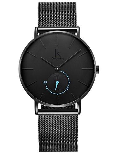 Alienwork Herren Damen Armbanduhr Quarz schwarz mit Milanaise-Mesharmband Edelstahl Ultra-flach Slim-Uhr