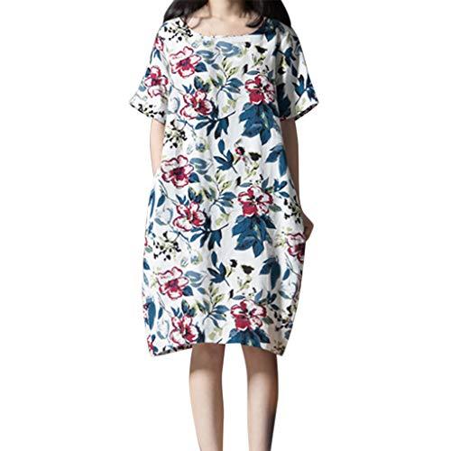 t Urlaub Lose T-Shirt Strand Blume Drucken Kleid Mit Taschen Einfach Kurze ÄRmel Rundhals Plus Size Minirock Sommer Tunika(Weiß,XXXXXL) ()
