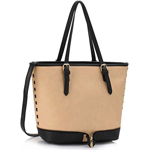 Damen Großen Umhängetaschen Frauen Designer Handtaschen Kunstleder Promi Stil Shopper Neue Trage (Shopper Patent)