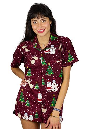 King Kameha Hawaiihemd Hawaiibluse Weihnachten, Christmas Buddys, rot, 6XL