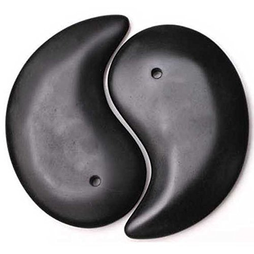 Si Bin Black Bian Stone Traditional Acupuncture Beauty face Massage Guasha Board TAIJI shape 2pce/set by Wispun - 2pce Set