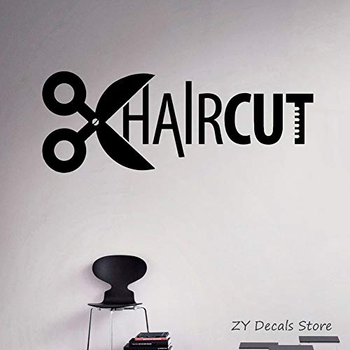 Haarschnitt Vinyl Aufkleber Friseursalon Wandaufkleber Frisuren Einfache Kunst Wandbilder Fensteraufkleber Tapete Selbstklebend 111 X 42 cm