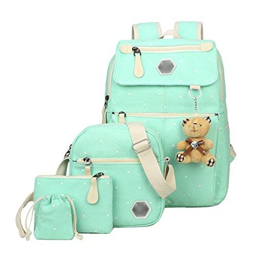 Imagen de youjia 5 pcs sets de útiles escolares para adolescentes, ocio colegio  + bolsos bandolera + estuches + cartera + colgante de oso de peluche azul claro