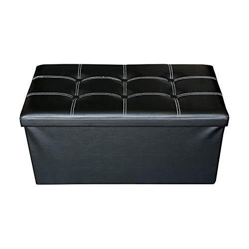 Rebecca mobili puff contenitore poggiapiedi nero, sedia seduta bianca, arredamento moderno, casa salotto living - misure 38 x 76 x 38 cm (hxlxp) - art. re4621
