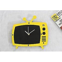 Reloj de Pared 3D Muebles para el Hogar moda creativa arte retro TV reloj pizarra mensaje tablero reloj reloj de pared , b