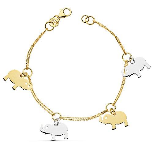 Alda Joyeros Pulsera de mujer oro bicolor 18k Charms Elefantes