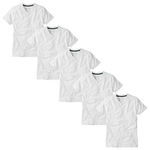 Charles Wilson 5er Packung Einfarbige T-Shirts mit V-Ausschnitt (Large, Weiß) - 2