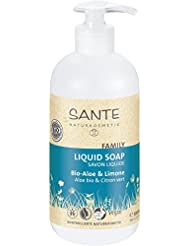 SANTE Naturkosmetik Flüssigseife Bio-Aloe und Limone, Mit Pumpspender, Fruchtiger Duft, Vegan, 500ml