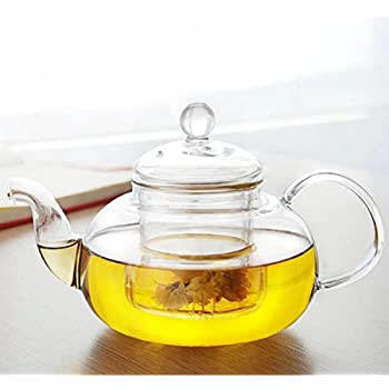 Gudoqi Heat Resistant Clear Glass Teapot With Removable 304