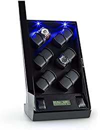 Klarstein Klingenthal caja para relojes (capacidad para 12 relojes, pantalla táctil, iluminación azul opcional, motor silencioso, 6 soportes con 2 almohadillas, hecho a mano) - negro
