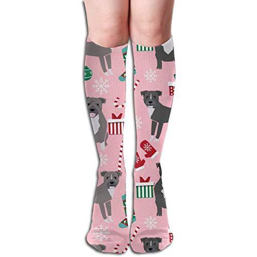 ZENGYAN Pitbull Christmas Candy Canes Snowflakes Presents Pink Men's Women's Cotton Crew Athletic Sock Running Socks Soccer Socks 19.7 inch