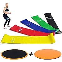 AIDUE Fitnessbänder 5er Set Premium Latex Widerstandsbänder Gymnastikbänder Loop Bänder mit Doppelseitig Core Sliders, Ideal für Beine, Yoga, Pilates, Workout, Rehabilitation, Krafttraining