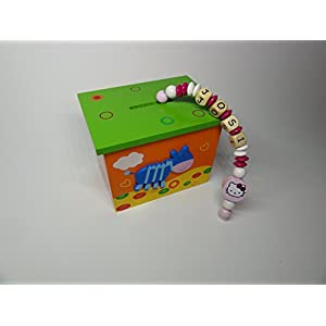 Holz – Spardose mit Namen in Orange – Grün – Hello Kitty