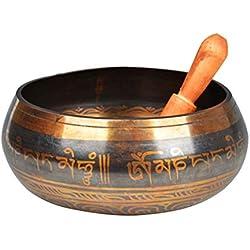 Vosarea Cuenco tibetano Cuenco conjunto Mantra diseño de bronce con mazo Cojín de seda para meditación, Chakra Curación, Yoga y Atención plena Regalo perfecto