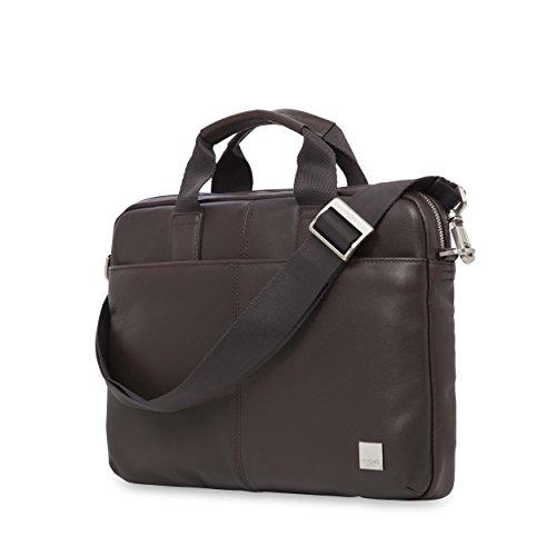 Knomo 154-258-BRN Brompton Stanford, stilvolle Herren-Aktentasche aus weichem Leder mit gepolstertem Laptopfach für 13 Zoll Notebooks und RFID-Schutz   Braun -