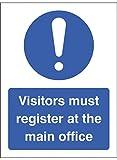 """Caledonia segni 15461K Segno """"I visitatori devono registro all' ufficio principale, Plastica rigida, 400mm x 300mm"""