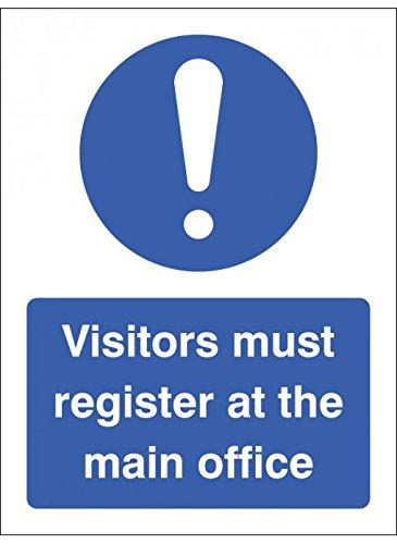 """Caledonia signos 15461K Signo """"visitantes debe registrarse en la oficina principal, plástico rígido, 400mm x 300mm"""