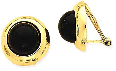 IceCarats 14k Yellow Gold Omega Clip Black Onyx Non Pierced On Earrings