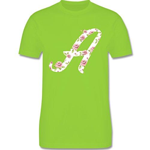 Anfangsbuchstaben - A Rosen - Herren Premium T-Shirt Hellgrün