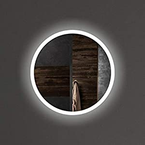 VON ADELBERG Wandspiegel mit LED Beleuchtung LED Badspiegel Badezimmerspiegel Lichtspiegel Runde Spiegel Power LED Luna, Große: Durchmesser Ø 50 cm, LED Lichtfarbe: Kaltweiß