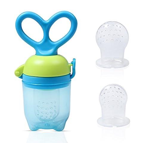 Alimentation pour bébés / Sucette de fruits Edealing BPA Free & 100% Silicone Nipple Fresh Food Milk Nibbler Alimentateur Feeding Tool Safe Baby Supplies Jouets avec une poignée pivotante unique (bleu)