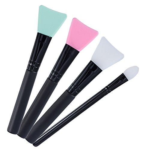 4 Stück Silikon Gesichtsmasken Bürsten Kosmetik Pinsel Masken Pinsel Make up Pinsel Passend für Schlamm Flüssigkeiten Pulver, Verschiedene Farben