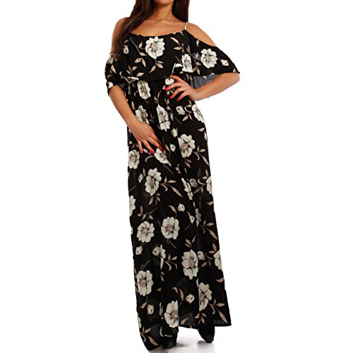 Damen Maxikleid Bodenlang Strandkleid Carmen-Ausschnitt mit Volant Mehrfarbig/Model7