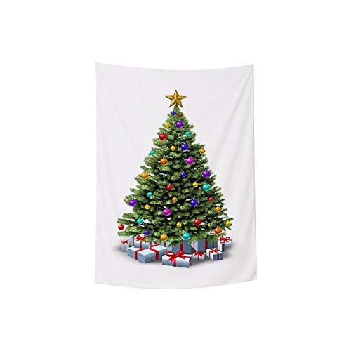 MSYOU Wandteppich mit Weihnachtsbaum-Motiv, Polyester, 145 x 215 cm, Weiß, Polyester, weiß, 145 * 215cm