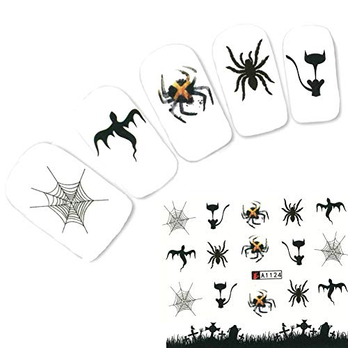 JUSTFOX - Tattoo Nail Halloween Totenköpfe Fledermaus Aufkleber Nagel Sticker Nägel Water Decal