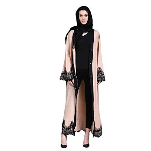 Mitlfuny Frauen Kimono Vorne Offene Spitze Jilbab Maxi Lose Robe Casual Abendkleid Kaftan Kleid...