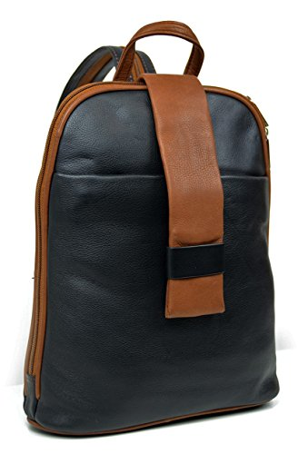 DEVRAKH Damen Echtleder Rucksack City Pack DayPack Handtasche echt Leder Nappa Citybackpack (Schwarz)