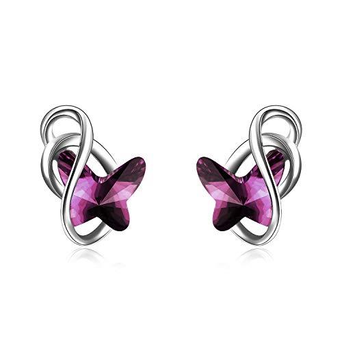 Schmetterling Ohrstecker Sterling Silber Ohrringe Damen mit Blauen Swarovski-Kristallen, Schmuck Geschenke für Frauen Mädchen (amethyst) (Swarovski-kristall-ohrringe Ohrstecker)