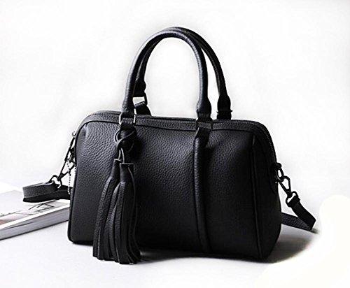CHAOYANG-a tracolla in pelle borsa borsa borsa diagonale primo strato di borsa di pelle con frange , purple taro Black