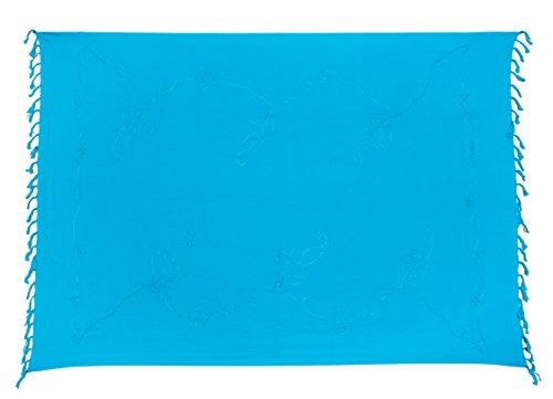 Premium Sarong Pareo Wickelrock Strandtuch Lunghi Dhoti Schlicht Blickdicht Tolle Stickerei Türkis + Schnalle