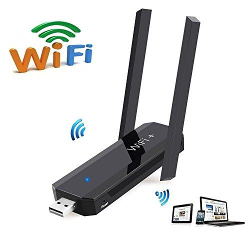 Power-repeater (FB POWER Mini-WLAN-Reichweitenverlängerung mit Zwei externen Antennen, 2,4 GHz 300 Mbit/s USB WLAN-Adapter/Dongles WiFi Repeater TV Netzwerk Adapter schwarz Schwarz)