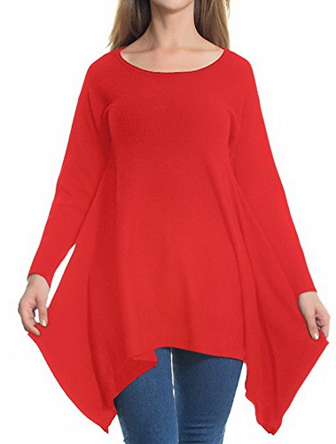BIUBIONG Femme manches longues Tunique tops Automne Grande taille style A Casual robe chemise Rouge