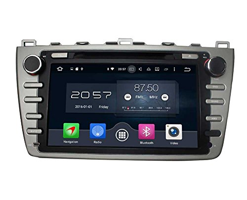 (Silber) 8 Zoll Doppel Din Android 6.0 OS Autoradio für Mazda 6 2008 2009 2010 2011 2012, kapazitiver Touchscreen mit 8 Core 1.5G Cortex A53 CPU 32G Flash und 2G DDR3 RAM GPS Navi Radio DVD Player 3G/WIFI Aux Input OBD2 USB DVR (Dvd-dvr-player)