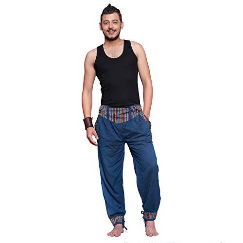 Simandra Haremshose Freizeithose Fischerhose Fitness Hippie Goa Schlupfhose PSY Ethno Sport Thamel Herren (Blau, L/XL)