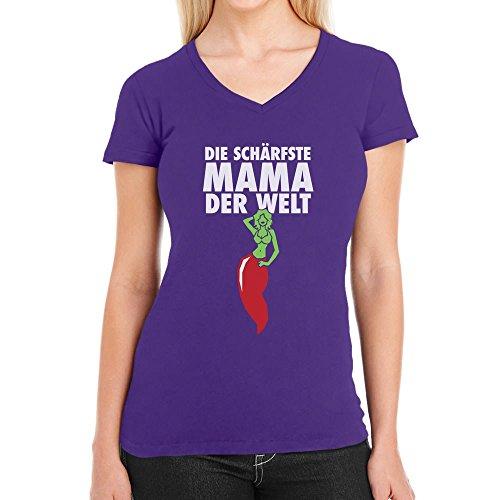 Die Schärfste Mama der Welt - Geschenkidee für Mutter Damen T-Shirt V-Ausschnitt Lila
