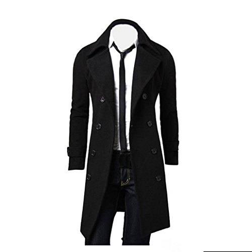Plus Land Size Kostüme (Herren Jacken Longra Herbst Winter Herren Slim Stylish Trench Coat Double Breasted Lange Jacke Parka Mäntel (M,)