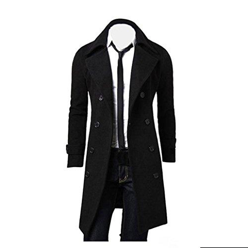Herren Jacken Longra Herbst Winter Herren Slim Stylish Trench Coat Double Breasted Lange Jacke Parka Mäntel (XL, BLack) (Mantel Breasted Double Jacke)