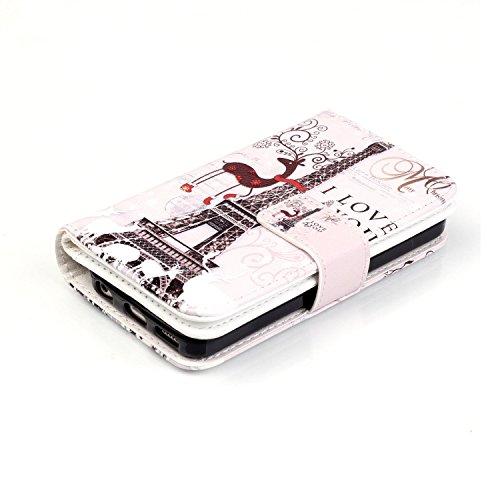Etsue [9 Card Slot] für iPhone 6S/iPhone 6 [lila Löwenzahn Blume] Leder Flip Case Ledertasche, Bunte Retro Painted Wallet Cover Leder Hülle mit Standfunktion und Karte Halter im Bookstyle Leder Case B Eiffelturm Giraffe