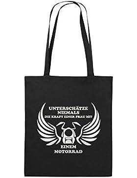 Comedy Bags - UNTERSCHÄTZE NIEMALS FRAU MIT MOTORRAD - Jutebeutel bedruckt, Baumwolltasche zwei lange Henkel aus...
