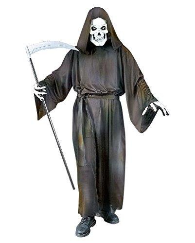 Grave Reaper Halloween Kostüm Gevatter Tod Umhang mit Totenkopf Maske - schwarz - (Grave Kostüme Reaper)