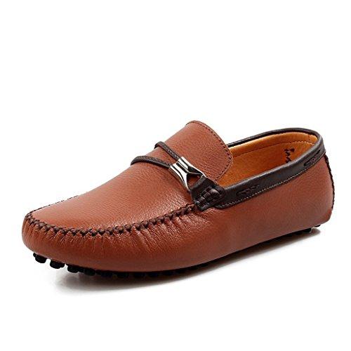 Mens Minitoo Chic en cuir à bout rond Loafers Chaussures bateau de conduite Marron - marron