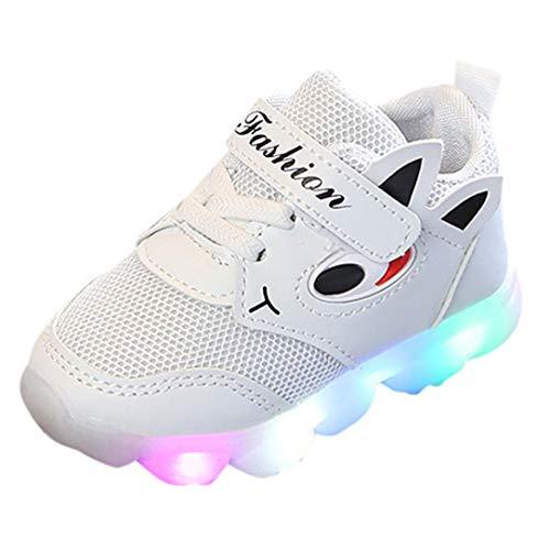 QinMM Kleinkind Baby Girs Led Licht Schuhe, Jungen Weiche Luminous Outdoor Sportschuhe Herbst Winter Turnschuhe Rot Weiß Rosa 20 EU-29 EU (22 EU, Weiß)